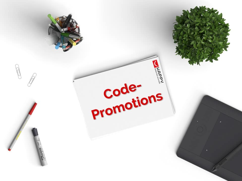 Code-Promotions auf Schreibtisch