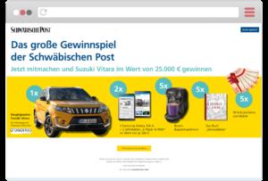 Landingpage Schwäbische Post Gewinnspiel