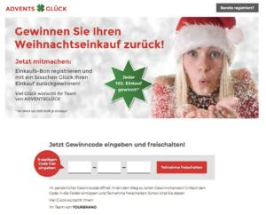 """Landingpage Gewinnspiel Adventsglück """"Gewinn Deinen Einkauf zurück"""""""