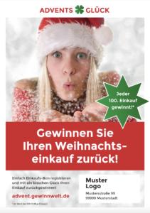 """Adventsglück-Plakat """"Gewinn Deinen Einkauf zurück"""""""
