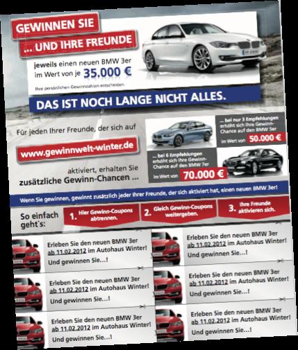 Autohaus-Gewinnspiel Mailing von HAPPY Empfehlungscoupons
