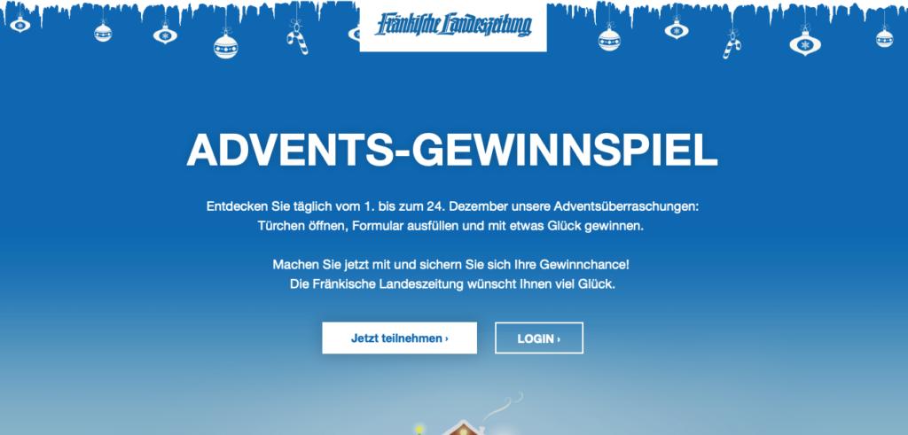 ADVENTS-GEWINNSPIEL Fränkische Landeszeitung